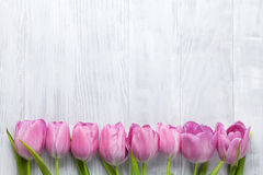 Fresh pink tulip flowers. On wooden table. Top view with copy space Stock Photos