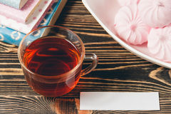Fresh Pink Zephyr Marshmallow Cup of Tea Sweet Dessert Concept Stock Image