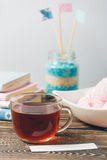 Fresh Pink Zephyr Marshmallow Cup of Tea Sweet Dessert Concept Royalty Free Stock Photo