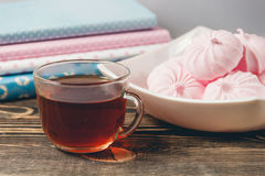 Fresh Pink Zephyr Marshmallow Cup of Tea Sweet Dessert Concept Stock Photo