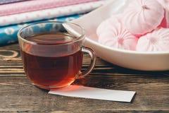 Fresh Pink Zephyr Marshmallow Cup of Tea Sweet Dessert Concept Stock Photos