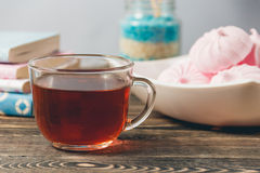 Fresh Pink Zephyr Marshmallow Cup of Tea Sweet Dessert Concept Royalty Free Stock Images