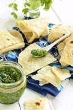 Fresh pita bread with coriander sauce Royalty Free Stock Image