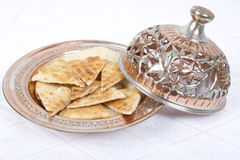 Fresh Pita Breads are served. In Ottoman style copper bowl Stock Photography