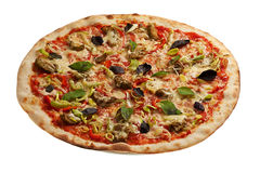 Fresh pizza. Close up, white background Royalty Free Stock Images