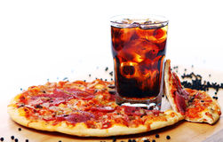 Fresh Pizza And Cold Cola Drink Royalty Free Stock Images