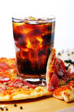 Fresh Pizza And Cold Cola Drink Stock Images