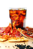 Fresh Pizza And Cold Cola Drink Stock Photos