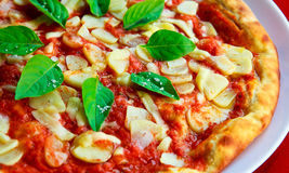 Fresh pizza with basil  Royalty Free Stock Image
