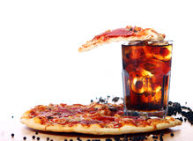 Fresh pizza and cold cola drink Royalty Free Stock Image