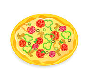 Fresh pizza icon with vegetables and pepperoni Royalty Free Stock Photography