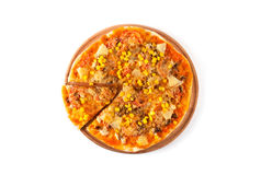 Fresh pizza isolated on white background Royalty Free Stock Images