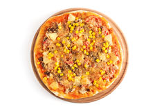 Fresh pizza isolated on white background Stock Photos