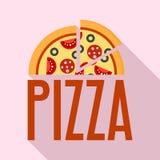Fresh pizza logo, flat style stock illustration