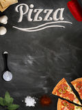Fresh pizza with mushrooms salami pepper on dark beackground Royalty Free Stock Image