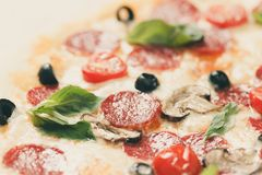 Fresh pizza pepperoni in macro view royalty free stock images