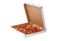 Fresh pizza in plain open box stock photography