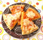 Fresh pizza. Some fresh pizza with ham and cheese Stock Photos