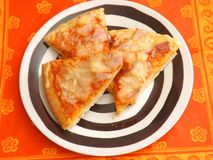 Fresh pizza. Some slices of fresh pizza on a plate Stock Photos
