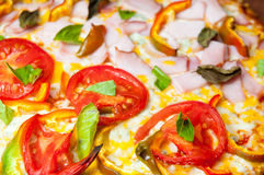 Fresh pizza surface Royalty Free Stock Image