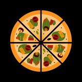Fresh pizza with tomatoes, cheese, olives, bacon. Pizza with mushrooms, vegetables, cheese and meat. Italian pizza cut into pieces. Traditional Italian fast food vector illustration