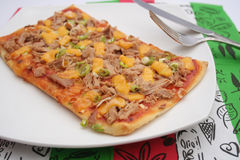 Fresh pizza with tuna fish Stock Images