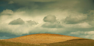 Fresh plowed field with blue sky and clouds Stock Photos