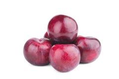 Fresh plum fruit  on white background. Fresh plum fruit isolated on white background Royalty Free Stock Photography