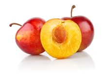 Fresh plum fruits with cut royalty free stock images