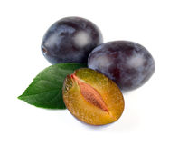 Fresh Plum  Fruits with Green Leaf. On White Background Stock Photography