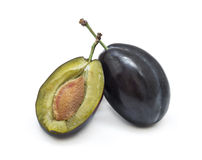 Fresh plum isolated on white background Royalty Free Stock Photo