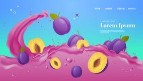 Free Fresh Plum Juice Liquid Splash Realistic Splashes Healthy Fruits Splashing Waves Horizontal Copy Space Royalty Free Stock Photo - 179985215