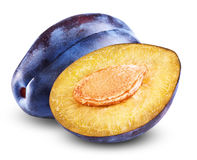 Fresh plum. With a slice and leaf on a white background. Clipping Path Royalty Free Stock Photo