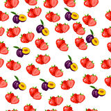 Fresh plum and slice. Very high quality original trendy seamless pattern with fresh plum and slice Stock Photos
