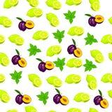Fresh plum and slice Stock Photos