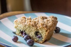 Blueberry coffee cake. Fresh, plump blueberries wrapped in a light coffee cake with delicious cinnamon crumb topping. Perfect with a cup of coffee or tea, or a Stock Images