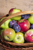 Fresh plums and apples Stock Photo