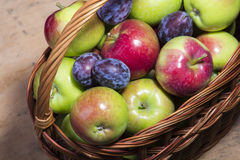 Fresh plums and apples Royalty Free Stock Images