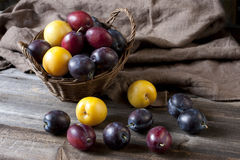Fresh plums in basket on wooden board Stock Photos