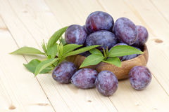 Fresh plums in a bowl Stock Photo