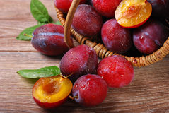 Fresh plums falling out of a basket Royalty Free Stock Images