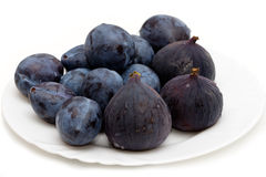 Fresh plums and figs Royalty Free Stock Photos