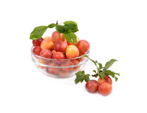 Fresh plums in a glass container Stock Photos