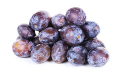 Fresh plums isolated on white. Stock Images