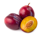 Fresh plums isolated on white Stock Photography