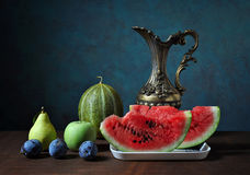 Fresh plums and watermelon Royalty Free Stock Image
