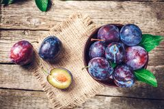 Fresh plums on wooden table. Blue and violet plums on wooden table Stock Images