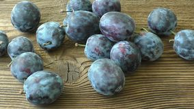 Fresh plums. On wooden table stock video footage