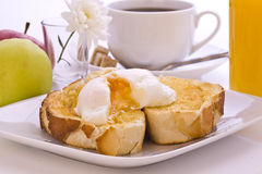 Fresh Poached Egg on Toast Royalty Free Stock Photos