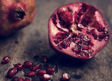 Fresh pomegranate food photography recipe idea Royalty Free Stock Images